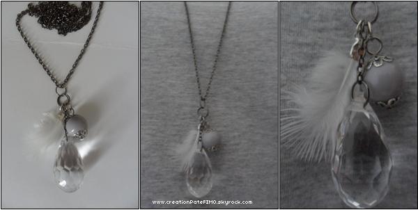.~ Sautoir plume blanche & goutte transparente - [ www.creationPateFIMO.skyrock.com ] .