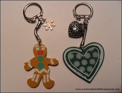 .~ Porte-clés P'tit Biscuit ou Coeur - [ www.creationPateFIMO.skyrock.com ] .
