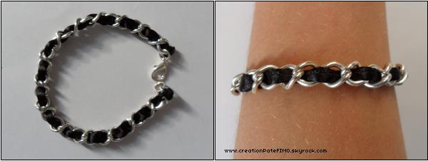".~ Bracelet ""Fil dans chaîne"" noir - [ www.creationPateFIMO.skyrock.com ] ."