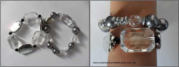 .~ Lot de 2 gros bracelets argents - [ www.creationPateFIMO.skyrock.com ] .