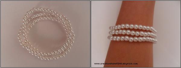 .~ Lot de 3 bracelets perles blanches - [ www.creationPateFIMO.skyrock.com ] .