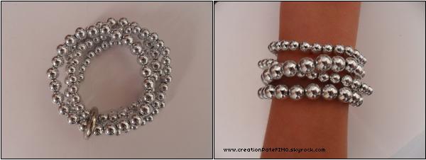 .~ Lot de 4 bracelets boules argentés - [ www.creationPateFIMO.skyrock.com ] .