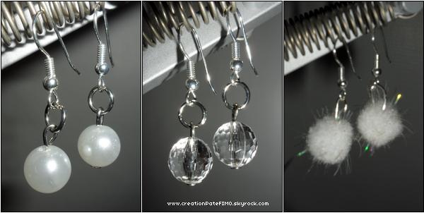 .~ 3 paires de boucles d'oreilles rondes - [ www.creationPateFIMO.skyrock.com ] .