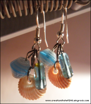 .~ Boucles d'oreilles Coquillages - [ www.creationPateFIMO.skyrock.com ] .
