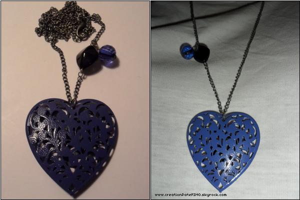 .~ Sautoir Coeur bleu - [ www.creationPateFIMO.skyrock.com ] .
