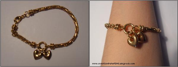 .~ Bracelet Doré avec coeurs - [ www.creationPateFIMO.skyrock.com ] .