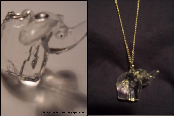 .~ Sautoir Eléphant transparent - [ www.creationPateFIMO.skyrock.com ] .