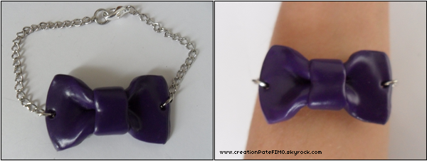 .~ Bracelet Noeud violet - [ www.creationPateFIMO.skyrock.com ] .