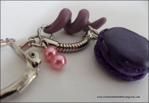 .~ Porte-clé Macaron violet - [ www.creationPateFIMO.skyrock.com ] .