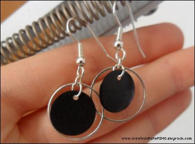 .~ Boucles d'oreilles rond noir & argent - [ www.creationPateFIMO.skyrock.com ] .