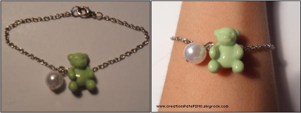 .~ Bracelet Nounours vert - [ www.creationPateFIMO.skyrock.com ] .