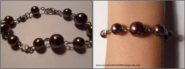 .~ Bracelet boules marrons - [ www.creationPateFIMO.skyrock.com ] .