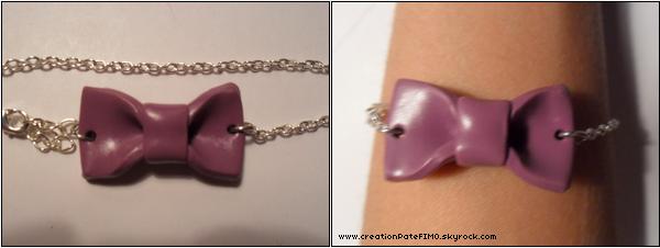 .~ Bracelet petit noeud violet - [ www.creationPateFIMO.skyrock.com ] .