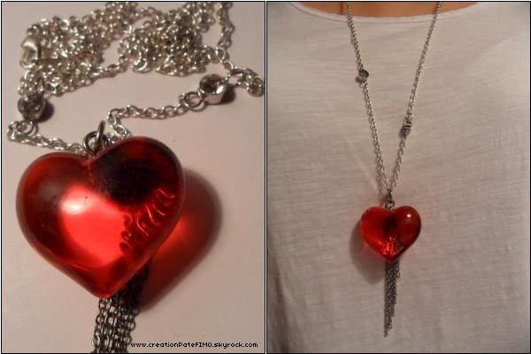 .~ Sautoir Coeur rouge - [ www.creationPateFIMO.skyrock.com ] .