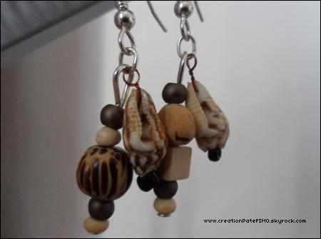 .~ Boucles d'oreilles perles en bois - [ www.creationPateFIMO.skyrock.com ] .