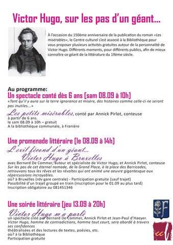 Mon concours à une manifestation en rapport avec Victor Hugo.