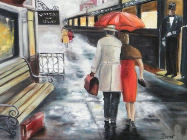 Quais de gare sous la pluie