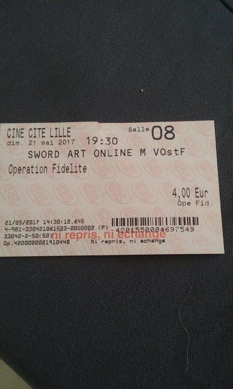 J'ai vu le film sword art online hier soir ^^