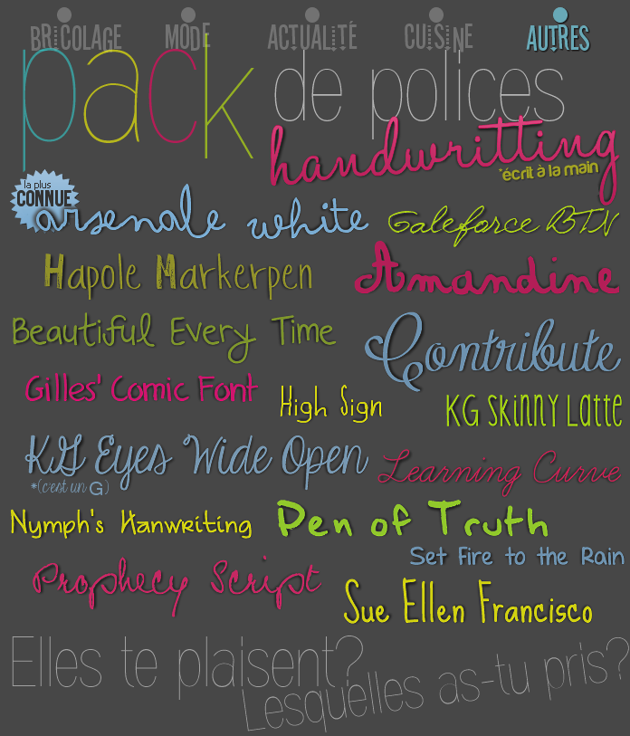 "Pack de Polices ""handwritting"""