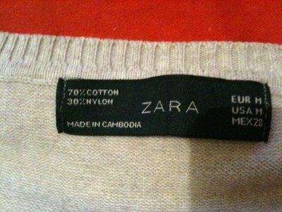 Pull beige Zara Col en V Taille S ~ 8¤