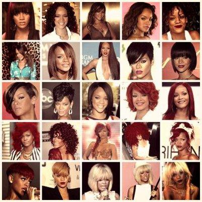 Evolution capillaire de Rihanna