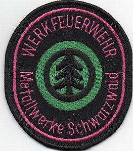 l'écusson des pompiers privés de l'usine de METALLWERKE SCHWARZWALD, en Allemagne
