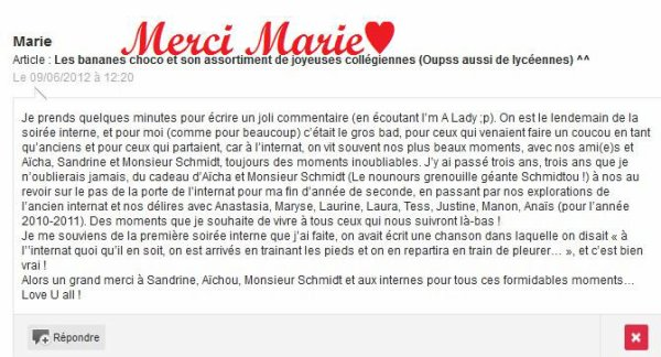 Oh Marie si tu savais...Comme on t'aime!