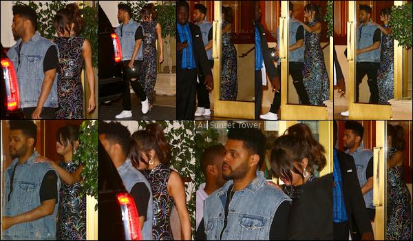 . 24/07/17 - Selena.G a été photographiée arrivant et repartant du restaurant The Nice Guy toujours à Los Angeles. Puis plus tard, la belle a été aperçue sortant de l'hôtel The Sunset Tower toujours dans LA, accompagnée de son petit-ami Abel Tesfaye.