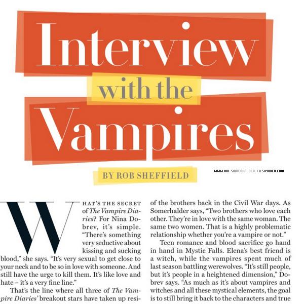 . Voici donc les Scans du Rolling Stone avec une interview exclusive de Paul, Ian et Nina.(Article associé) .