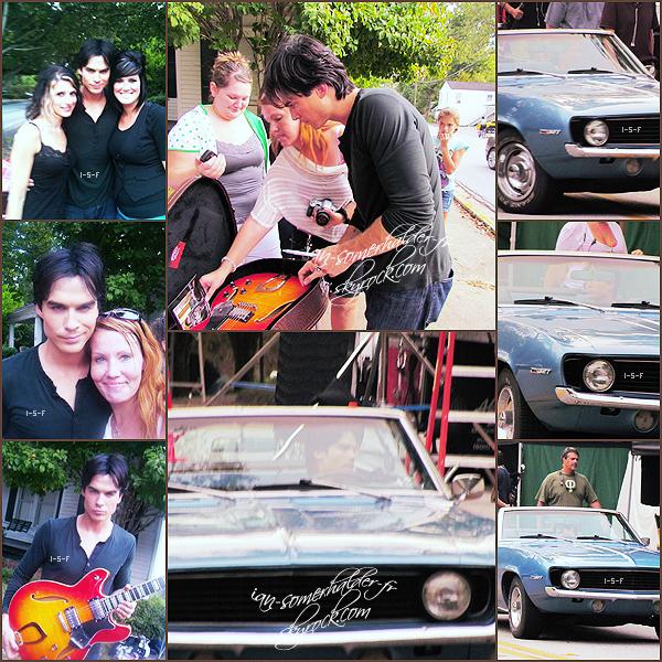 . Ian aperçu sur le set du 3x06 de VD posant avec les fans et au volant de la voiture de Damon.  .