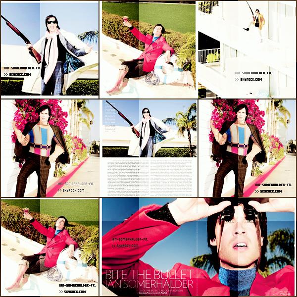 . Ian figurant dans le magazine Flaunt. Le shoot est pour le moins très coloré et bizarre...Vous aimez?!  :)   .