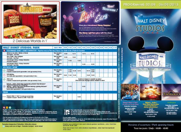 Les horaires d'ouverture des parcs Disneyland et Walt Disney Studios