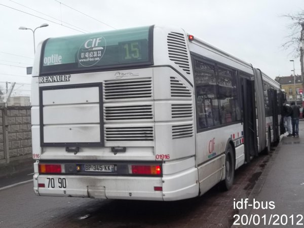 Réseau CIF Groupe Kéolis ligne 15,bus Renault Agora L à Aulnay-Sous-Bois RER