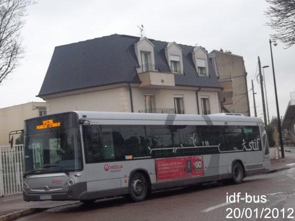 Réseau Véolia transport TRA,service spécial PSA,bus Heuliez-Bus GX 327 à Aulnay-Sous-Bois RER