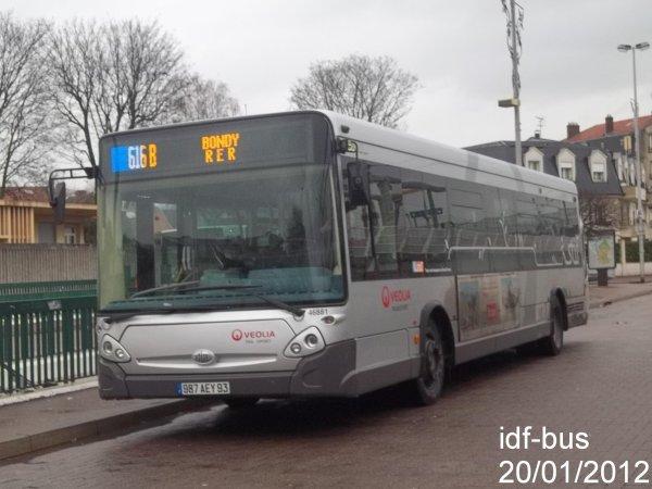 Réseau Véolia transport TRA,ligne 616b,bus Heuliez-Bus GX 327 à Aulnay-Sous-Bois RER