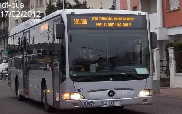 Réseau Albatrans,ligne 191.100,bus Mercedes-Benz Citaro II CNG n°461 à Juvisy-sur-Orge RER