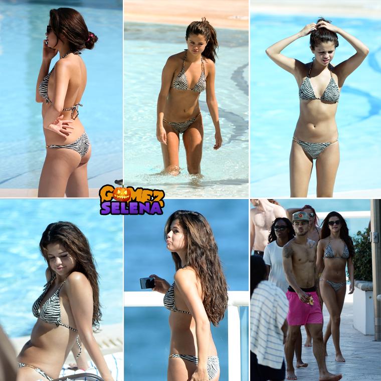 HOURAAAA ! On a des candids et de beaux en plus ! Je ne sais pas vous mais j'en peux plus des photos de concerts. Selena la bomba a profité de jour off pour passer du temps au bord de la piscine de son hôtel et à la plage avec ses amis en Floride, ce 28 octobre 2013.
