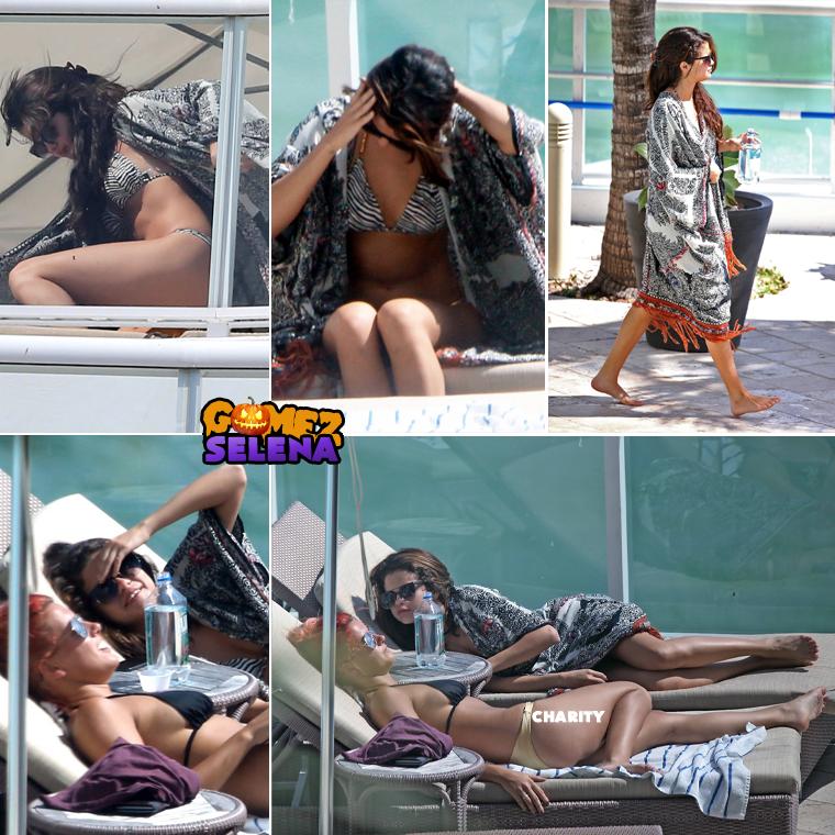Le lendemain Selena a encore une fois profité de la piscine de l'hôtel, plus précisément des chaises longues de l'hôtel. Elle a dû lire vos méchants commentaires sur son corps, puisque ce jour là elle a gardé sa veste.