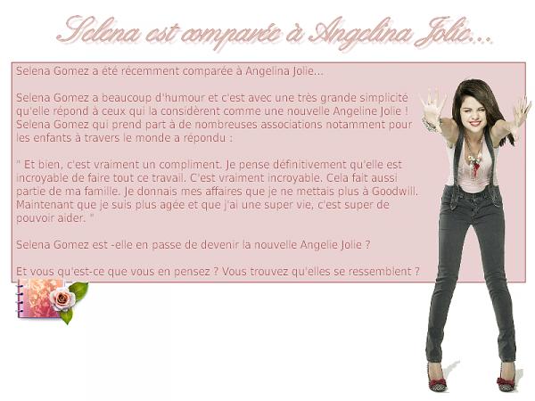 Selena Gomez comparée à Angelina Jolie