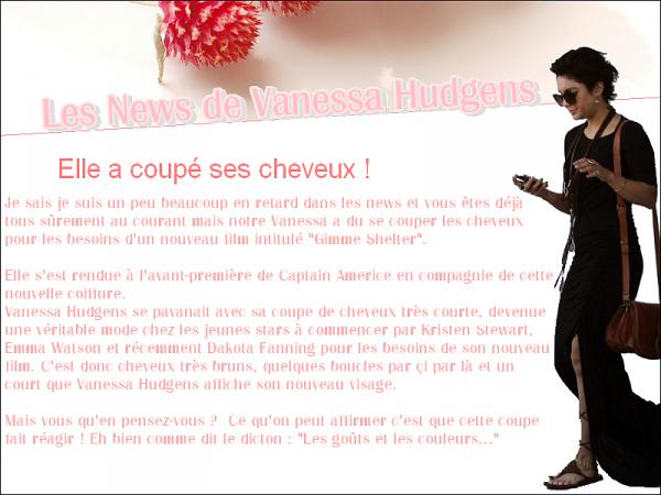 Les News de Vanessa Hudgens...