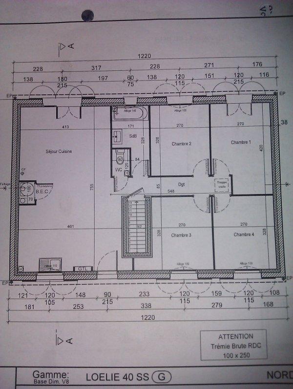 Le plan de la maison loelie 4 ss sur sous sol projet - Plan maison avec sous sol ...