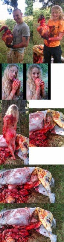 Amérique : Elle pose nue dans le cadavre de son cheval