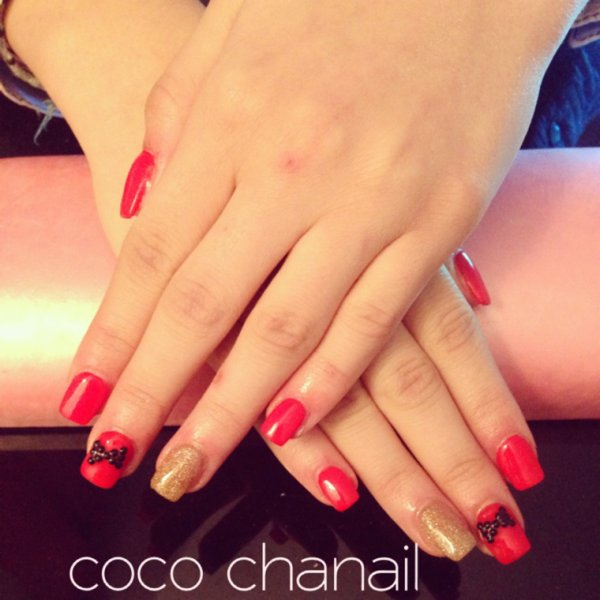 deco ongle rouge or