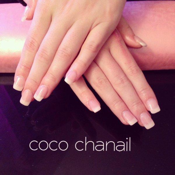 Pose gel uv avec rallongement au chablon, French blanche naturelle Coco Chanail Prothésiste Styliste ongulaire à PERPIGNAN