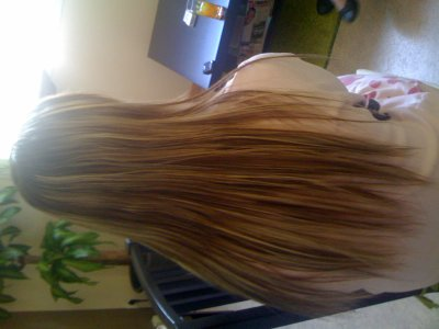 Extensions chatain et blond platine