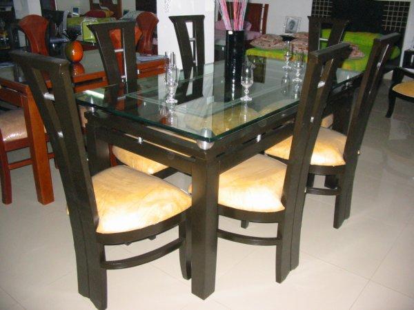 Comedor de madera deko doble linea megaespacio muebles for Comedor 4 puestos madera