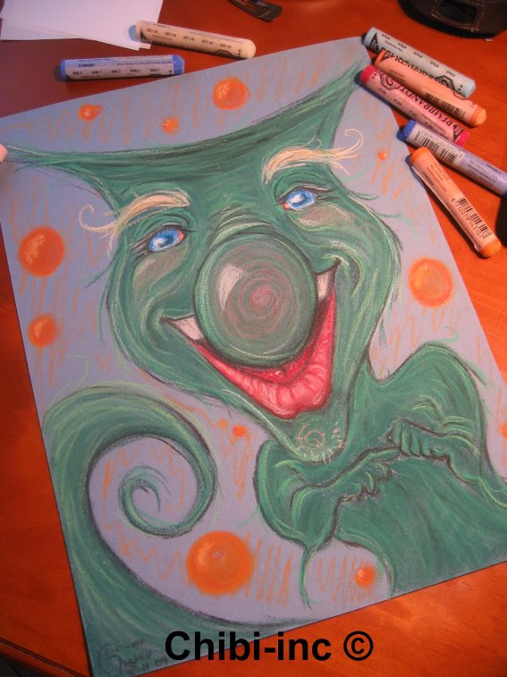 Pastel sec *Petit homme vert poilu / Grinch*