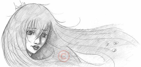 Croquis *Ancolie - Cheveux dans le vent*