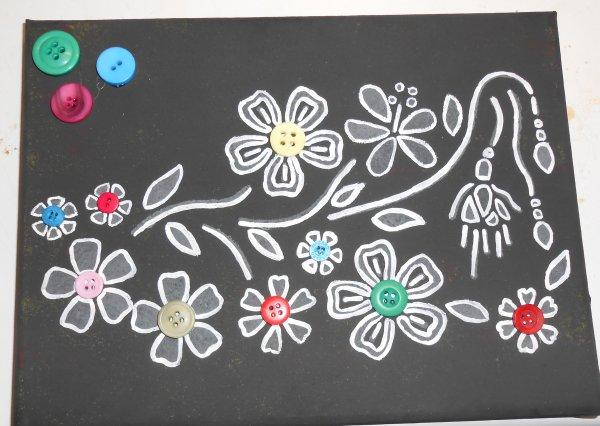 Tableau 'fleurs' noir et blanc