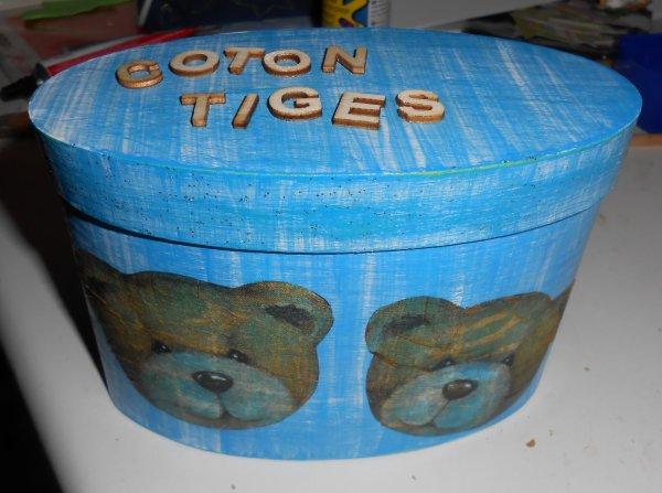 Boite à coton-tiges oursons